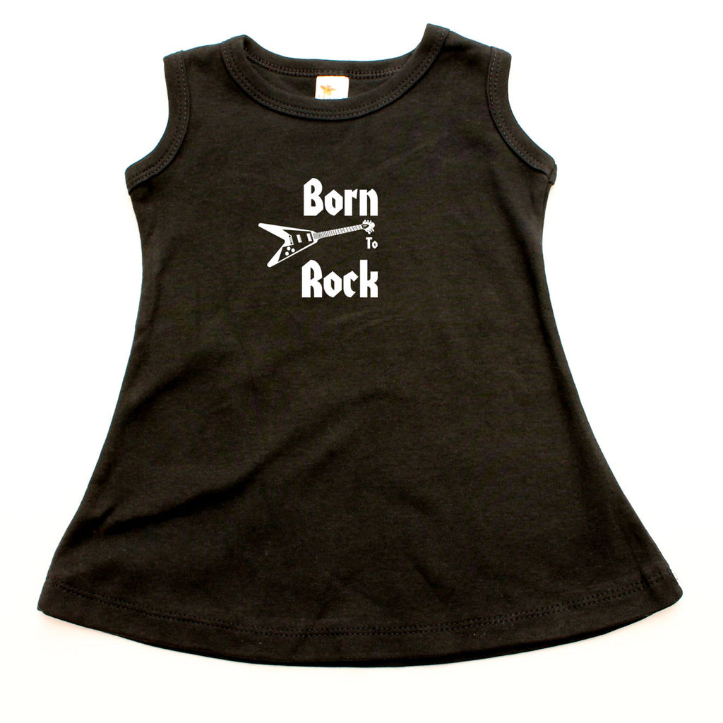 Born To Rock A-line Dress For Baby Girls