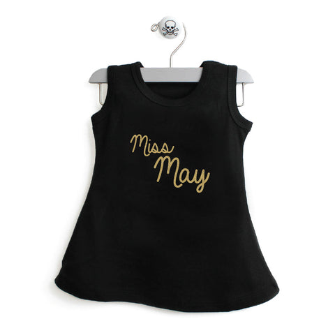 Miss Month A-Line Dress For Toddler Girls with Gold Glitter