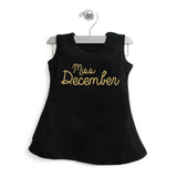 Miss Month A-Line Dress For Baby Girls with Gold Glitter
