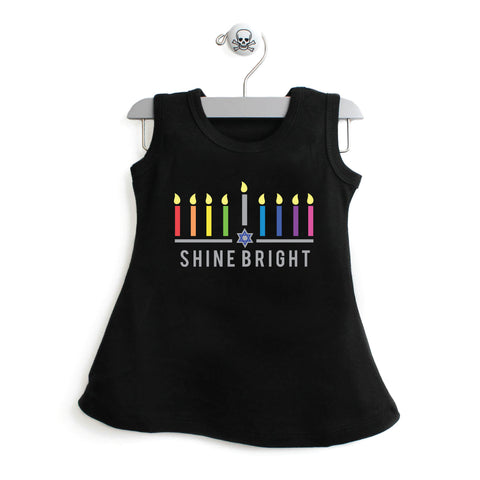 Hanukkah Colorful Shine Bright A-line Dress For Baby Girls