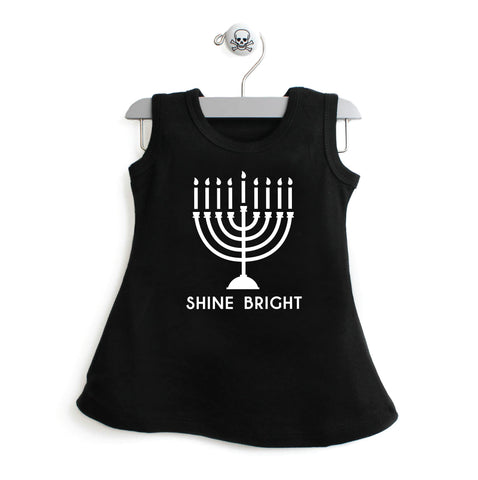 Hanukkah Shine Bright Solid Color Dress For Toddler Girls