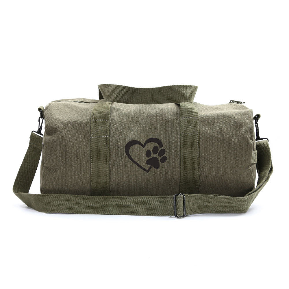 Heart With Dog Paw Puppy Love Sport Heavyweight Canvas Duffel Bag