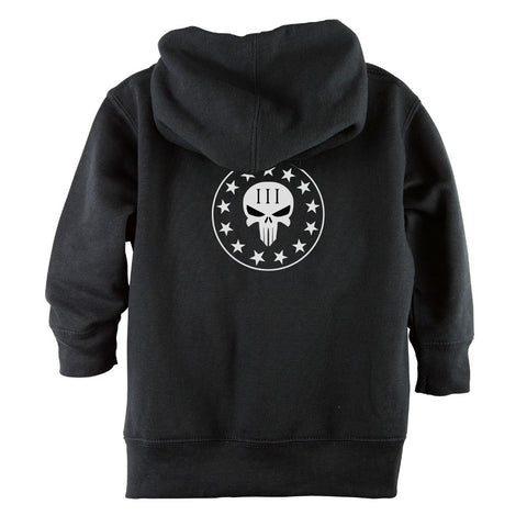 Punisher Skull Three Percenter Front Zipper Toddler Hoodie