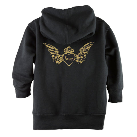 Glitter Gold Love Angel Wings Front Zipper Toddler Hoodie