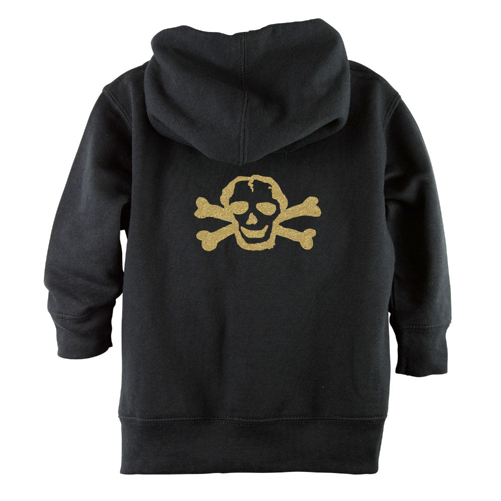 Gold Glitter Scribble Skull Front Zipper Toddler Hoodie