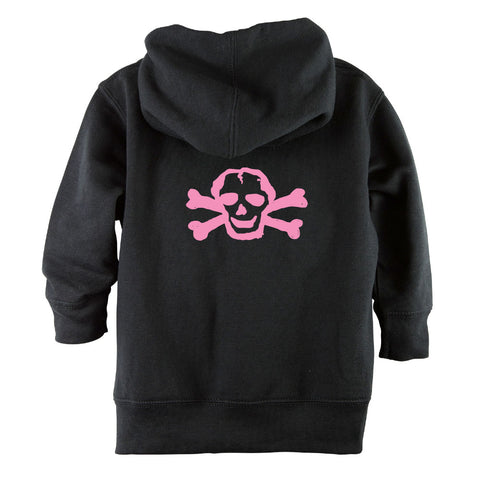 Pink Scribble Skull Front Zipper Toddler Hoodie