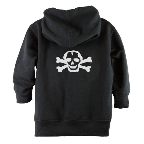 White Scribble Skull Front Zipper Toddler Hoodie