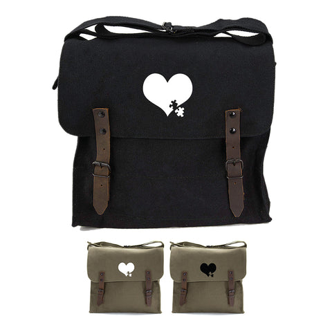 Autism Awareness Heart Puzzle Army Heavyweight Canvas Medic Shoulder Bag