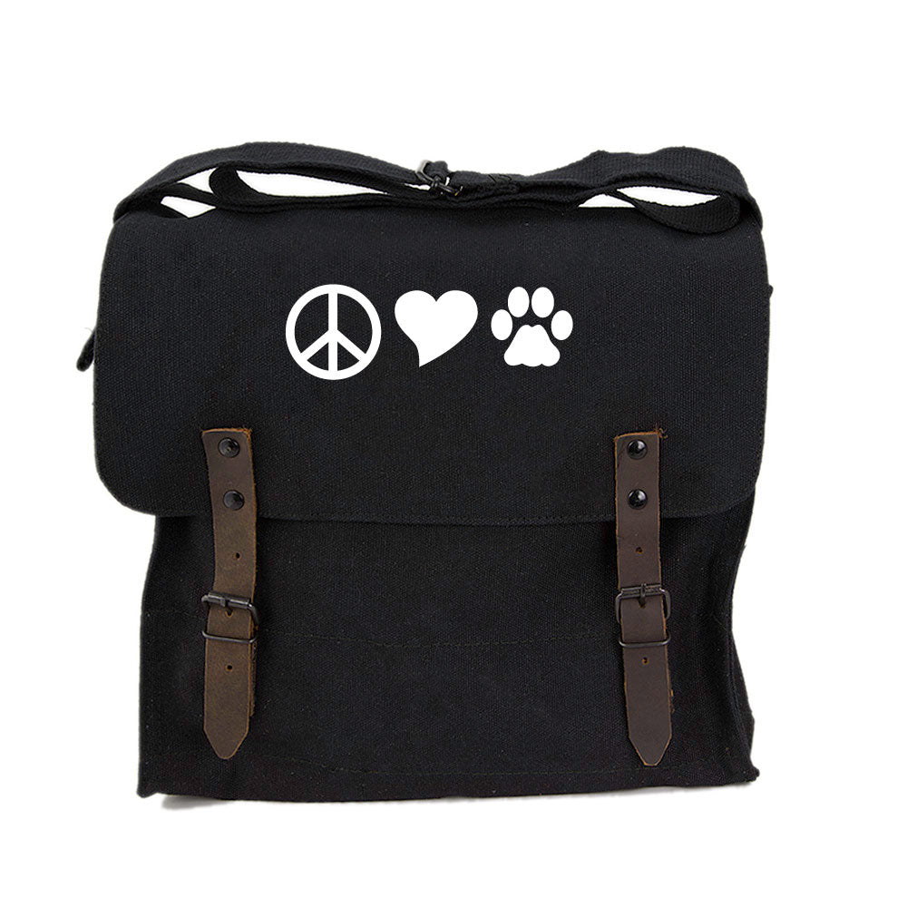 Peace Sign Heart Dog Paw Print Army Heavyweight Canvas Medic Shoulder Bag