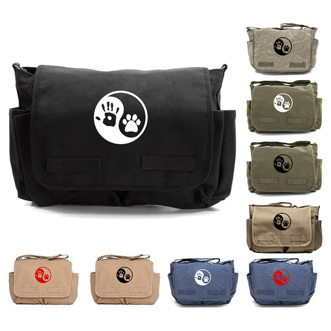 Yin Yang Puppy Dog Paws Print Diaper Bag Travel Messenger