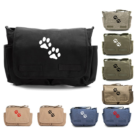 Puppy Dog Paws Print Canvas Laptop Messenger or Diaper Bag