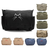 Kitty Cat Ears Whiskers Face Canvas Laptop Computer Messenger Shoulder Strap Bag