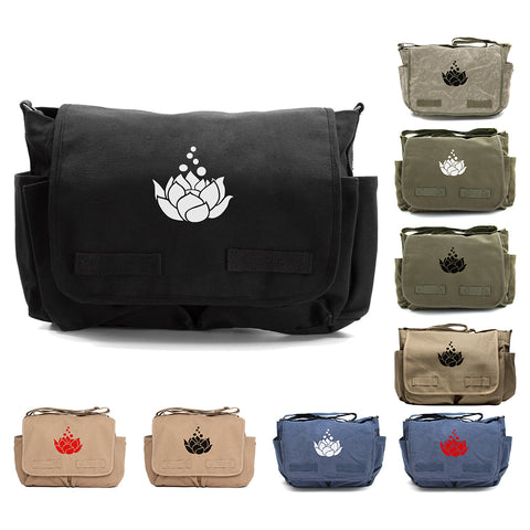 Lotus Flower Heavyweight Canvas Messenger/Diaper Shoulder Bag
