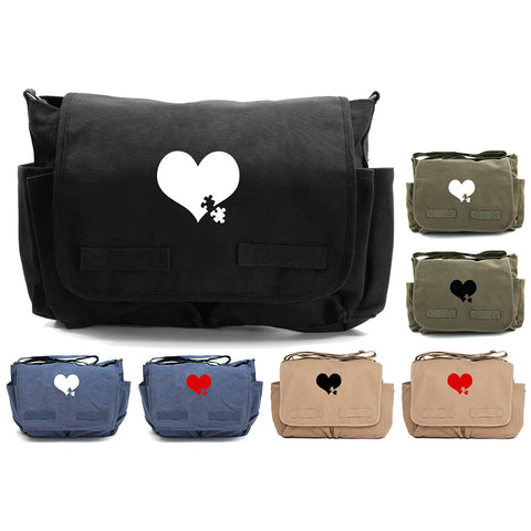 Autism Awareness Heart Puzzle Army Heavyweight Canvas Messenger/Diaper Shoulder Bag