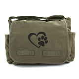 Heart With Dog Paw Puppy Love Army Heavyweight Canvas Messenger Shoulder Bag