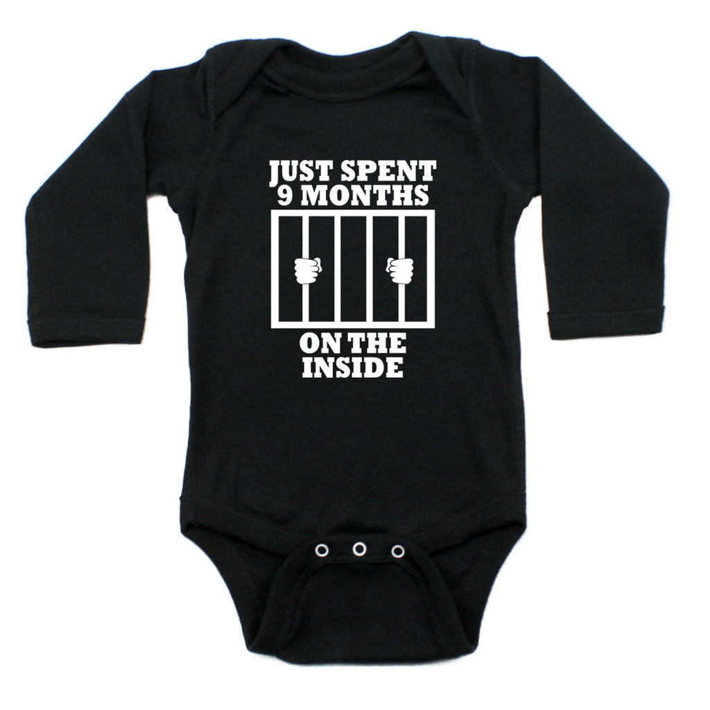 Just Spent 9 Months On The Inside Long Sleeve Cotton One Piece Baby Bodysuit