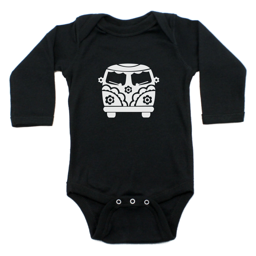 Flower Power Hippie Mini Bus Long Sleeve Bodysuit One Piece