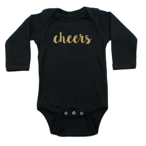 New Years Cheers Long Sleeve Cotton Bodysuit with Glitter