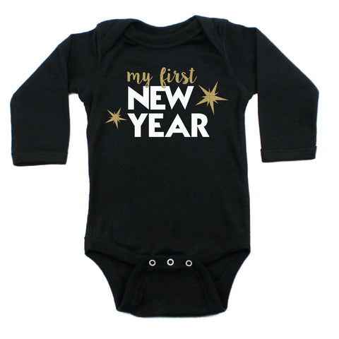 My First New Years Long Sleeve 100% Cotton Bodysuit