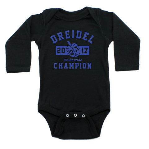 Hanukkah Dreidel Champion Long Sleeve Cotton Bodysuit