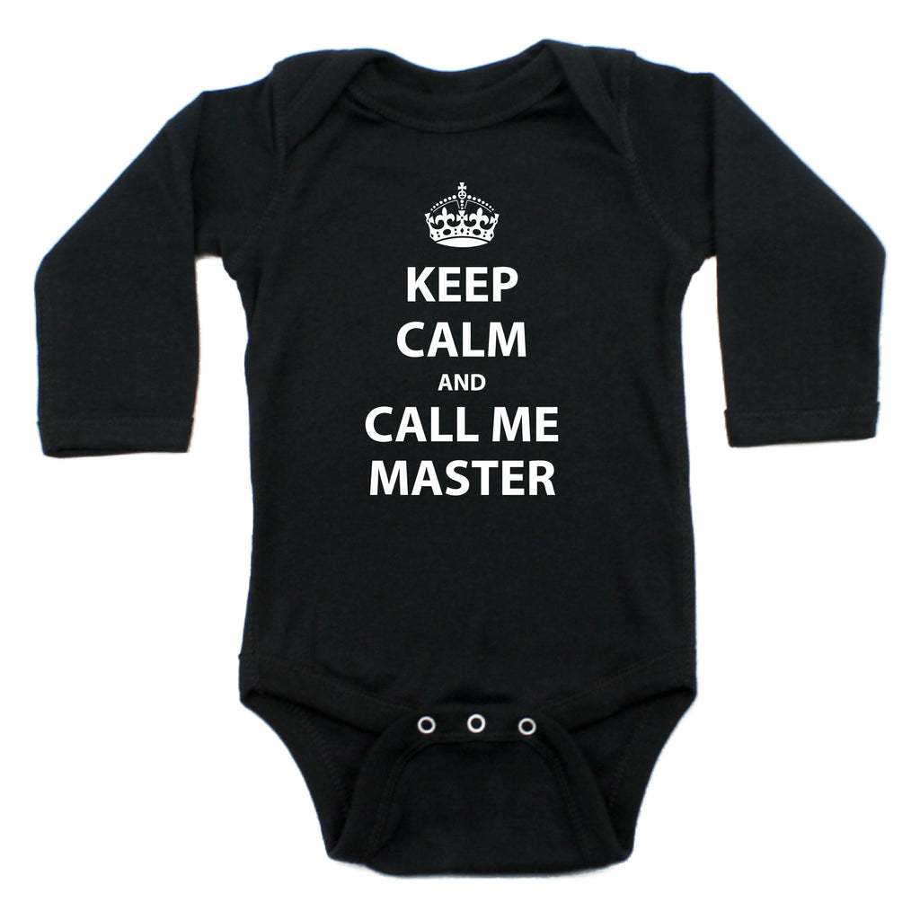 Keep Calm And Call Me Master Long Sleeve Cotton Bodysuit