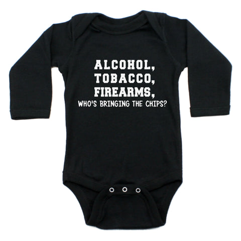 Alcohol Tobacco Who's Bringing Chips Long Sleeve Bodysuit