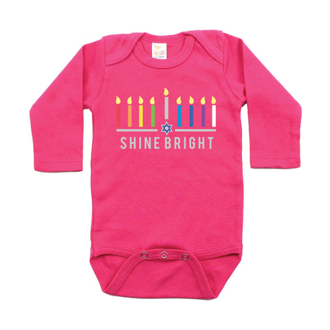 Hanukkah Colorful Shine Bright Long Sleeve Cotton Bodysuit