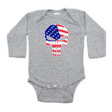 American Flag Punisher Skull Long Sleeve Infant Bodysuit