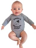 Daddy's Drinking Buddy Long Sleeve Cotton One Piece Baby Bodysuit