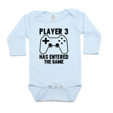 Player #3 Has Entered The Game Long Sleeve Cotton One Piece Baby Bodysuit