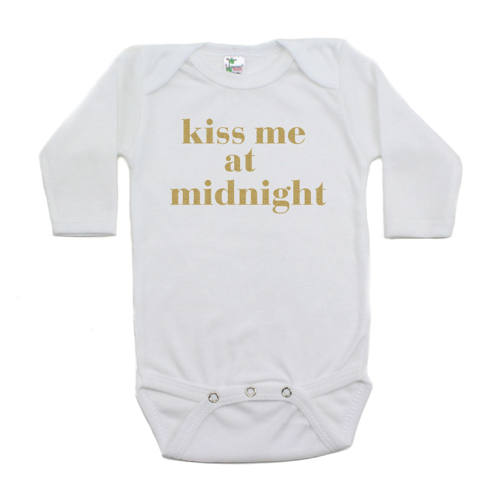 New Years Kiss Me At Midnight Long Sleeve Cotton Bodysuit