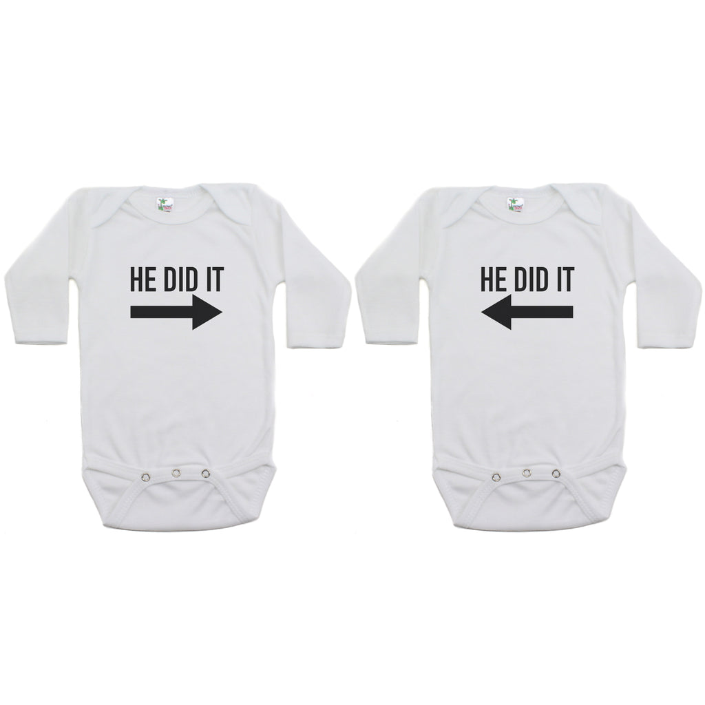 Twin Set He Did It Long Sleeve Infant Bodysuit