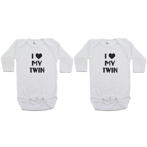 Twin Set I Love My Twin Sleeve Infant Bodysuit