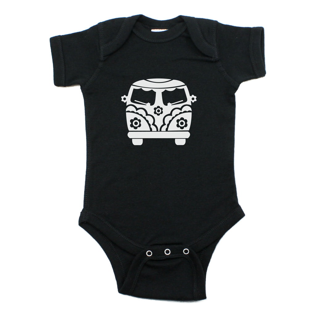 Flower Power Hippie Mini Bus Short Sleeve Bodysuit One Piece