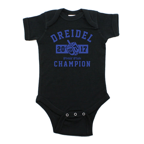 Hanukkah Dreidel Champion Short Sleeve Cotton Bodysuit