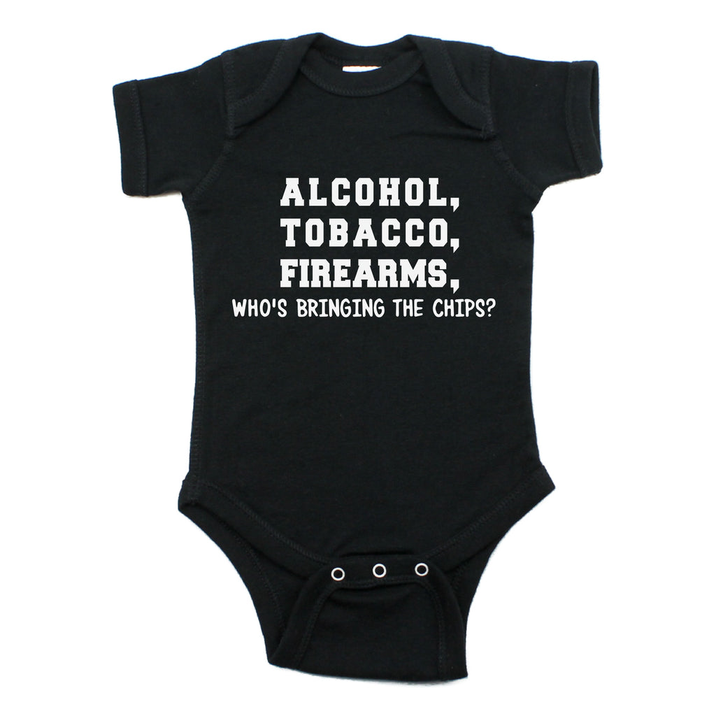 Alcohol Tobacco Who's Bringing Chips Short Sleeve Bodysuit
