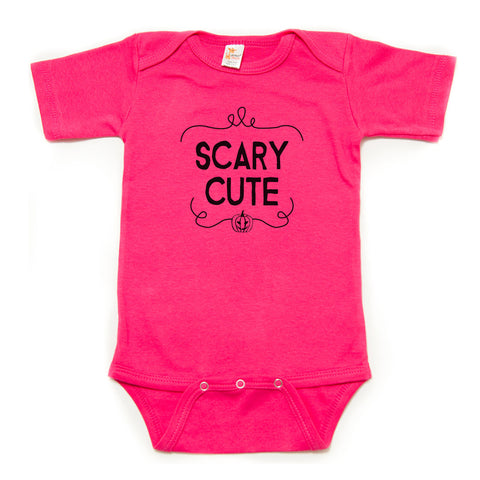 Scary Cute Halloween Pumpkin Short Sleeve Bodysuit