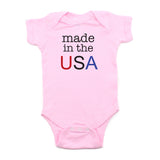 4th of July Made in the USA Text Short Sleeve Infant Bodysuit