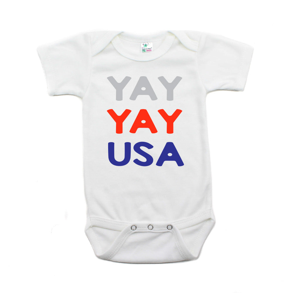4th of July Yay Yay USA Text Short Sleeve Infant Bodysuit