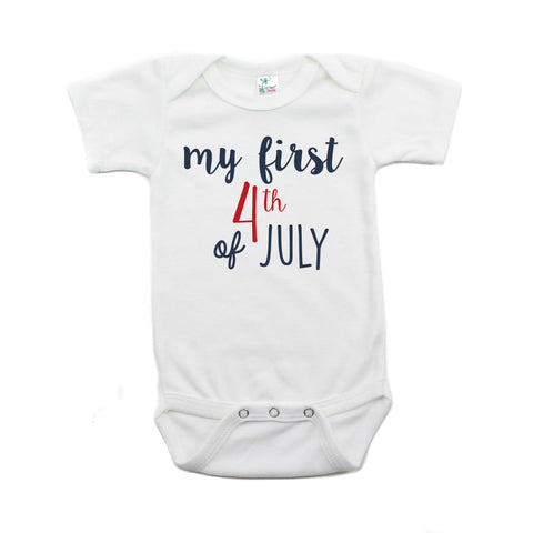 My First 4th of July Cursive Text Short Sleeve Infant Bodysuit