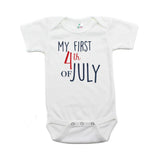 My First 4th of July Bold Text Short Sleeve Infant Bodysuit