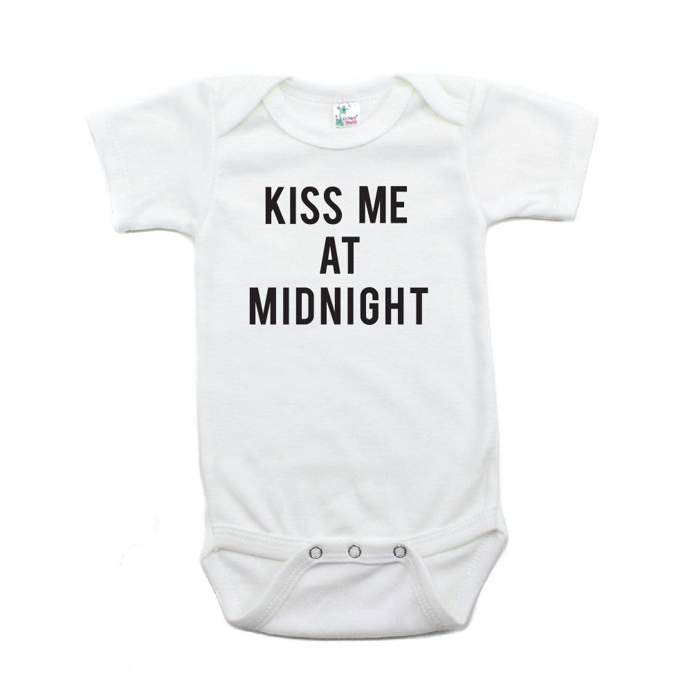 New Years Kiss Me At Midnight Short Sleeve Cotton Bodysuit