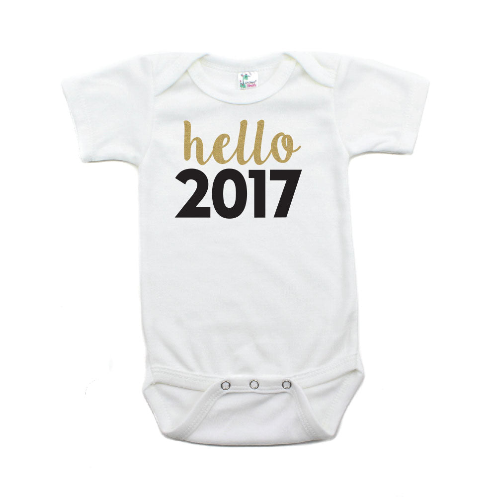New Years Hello 2017 Short Sleeve Bodysuit