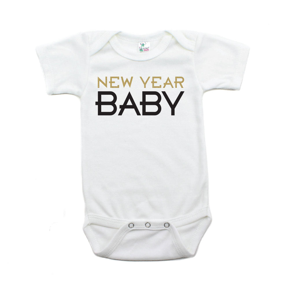 New Year Baby Short Sleeve 100% Cotton Bodysuit