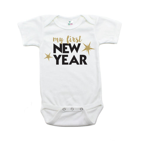 My First New Years Short Sleeve 100% Cotton Bodysuit