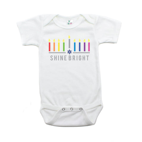 Hanukkah Colorful Shine Bright Short Sleeve Cotton Bodysuit