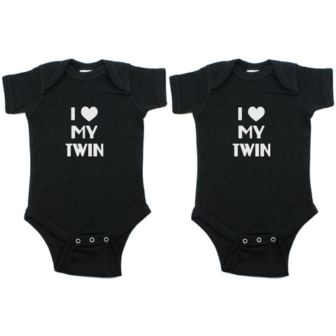 Twin Set I Love My Twin Short Sleeve Infant Bodysuit
