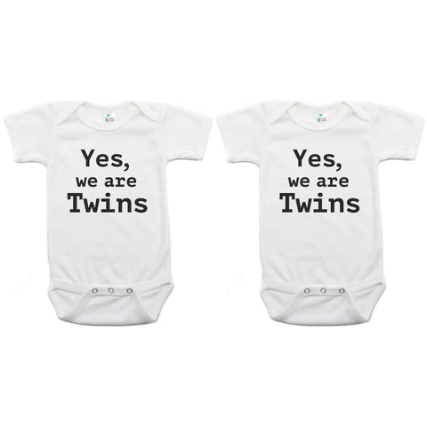 Twin Set Yes, We are Twins Short Sleeve Infant Bodysuit