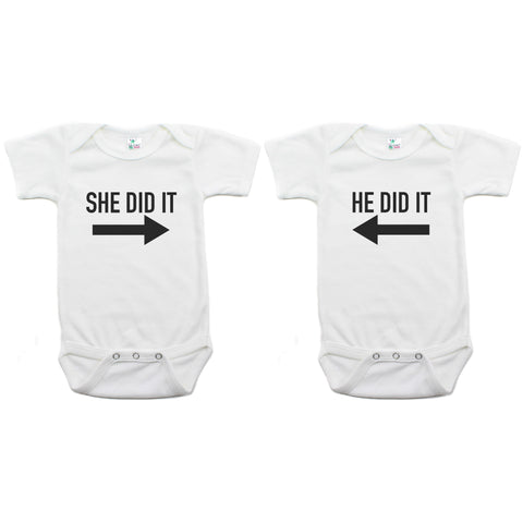 Twin Set She Did It, He Did It Short Sleeve Infant Bodysuit