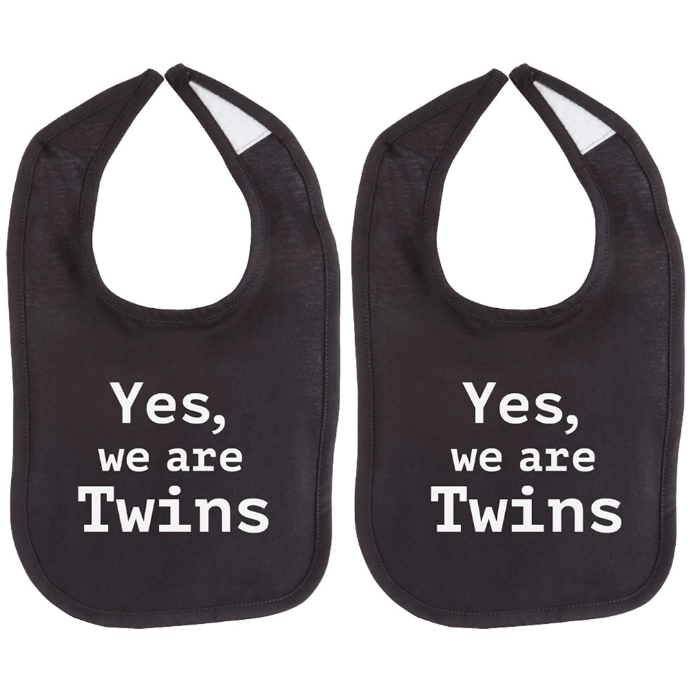 Yes We Are Twins Unisex 100% Cotton Soft Twin Baby Bib Set